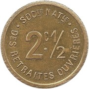 2½ Centimes - Société Nationale des Retraites Ouvrières (Paris) – obverse