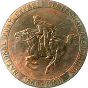 So-called-dollar - Pony Express Centennial Association (Official Medal) – reverse