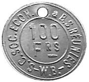100 Francs - S.C. Soc. Econ. & B.S. Reunies W.B. (Brewery token) – obverse