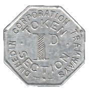 1 Penny - Dunedin Corporation Tramways Token – reverse
