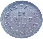 Token - John Bauer (Cincinnati, Ohio) – reverse