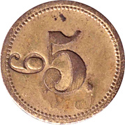 5 Pfennig (Werth-Marke; Brass; 18.0 mm; Couintermarked with Number) – reverse