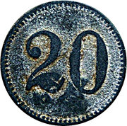 "20 Pfennig (Werth-Marke; Countermarked ""BT"") – reverse"