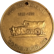 Token - Gothenburg, Nebraska Centennial – reverse