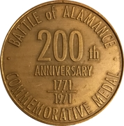 Token - Bicentennial Battle of Alamance (Burlington, North Carolina) – reverse