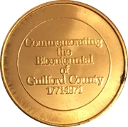 Token - Bicentennial Guilford County, North Carolina – reverse