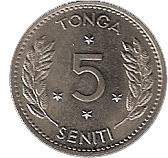 5 Seniti - Taufa'ahau Tupou IV – reverse