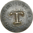 1½  Pence (Black Dog; T countermark on Cayenne colony 2 sous) – reverse