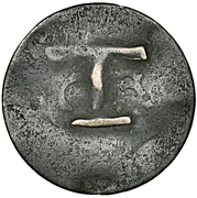 1½  Pence (Black Dog; T countermark on French 2 sous) – reverse