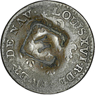 1½ Pence (Black Dog; H countermark on Cayenne colony 2 sous) – obverse