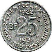 25 Centimes - Département de la Haute Garonne – reverse