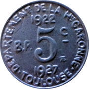 5 Centimes (Toulouse) – reverse