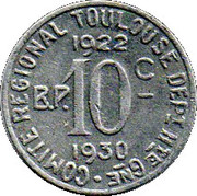10 Centimes - Comité régional (Toulouse) – reverse
