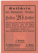 20 Heller (Traisen) – obverse