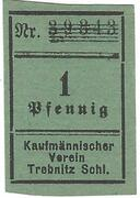 1 Pfennig (Kaufmännischer Verein/Vorschußverein; green paper) – obverse