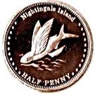 ½ Penny - Elizabeth II (4th portrait; Nightingale Island) – reverse