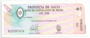 1 Austral (Province of Salta) – obverse