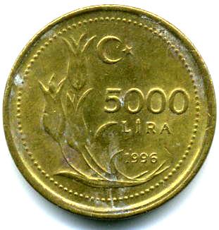 5000 Lira Turkey Numista