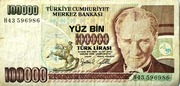 100,000 Turkish Lira – obverse
