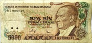 5,000 Turkish Lira – obverse