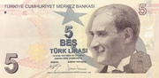 5 Turkish Lira – obverse