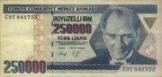 250,000 Lira – obverse