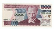 1,000,000 Lirasi – obverse