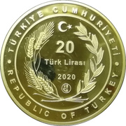 20 Lira (Grand Hagia Sophia Mosque; gold plated) – obverse