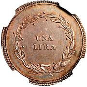 1 Lira - Charles Louis and Maria Luigia – reverse
