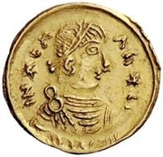1 Tremissis - In the name of Heraclius, 610-641 (Realistic bust; regular head with stars) – obverse