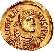 1 Tremissis - In the name of Heraclius, 610-641 (Realistic bust; regular head without stars) – obverse