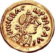 1 Tremissis - In the name of Heraclius, 610-641 (Line bust; leaning forward) – obverse