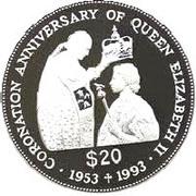 20 Dollars - Elizabeth II (Coronation Jubilee) -  reverse