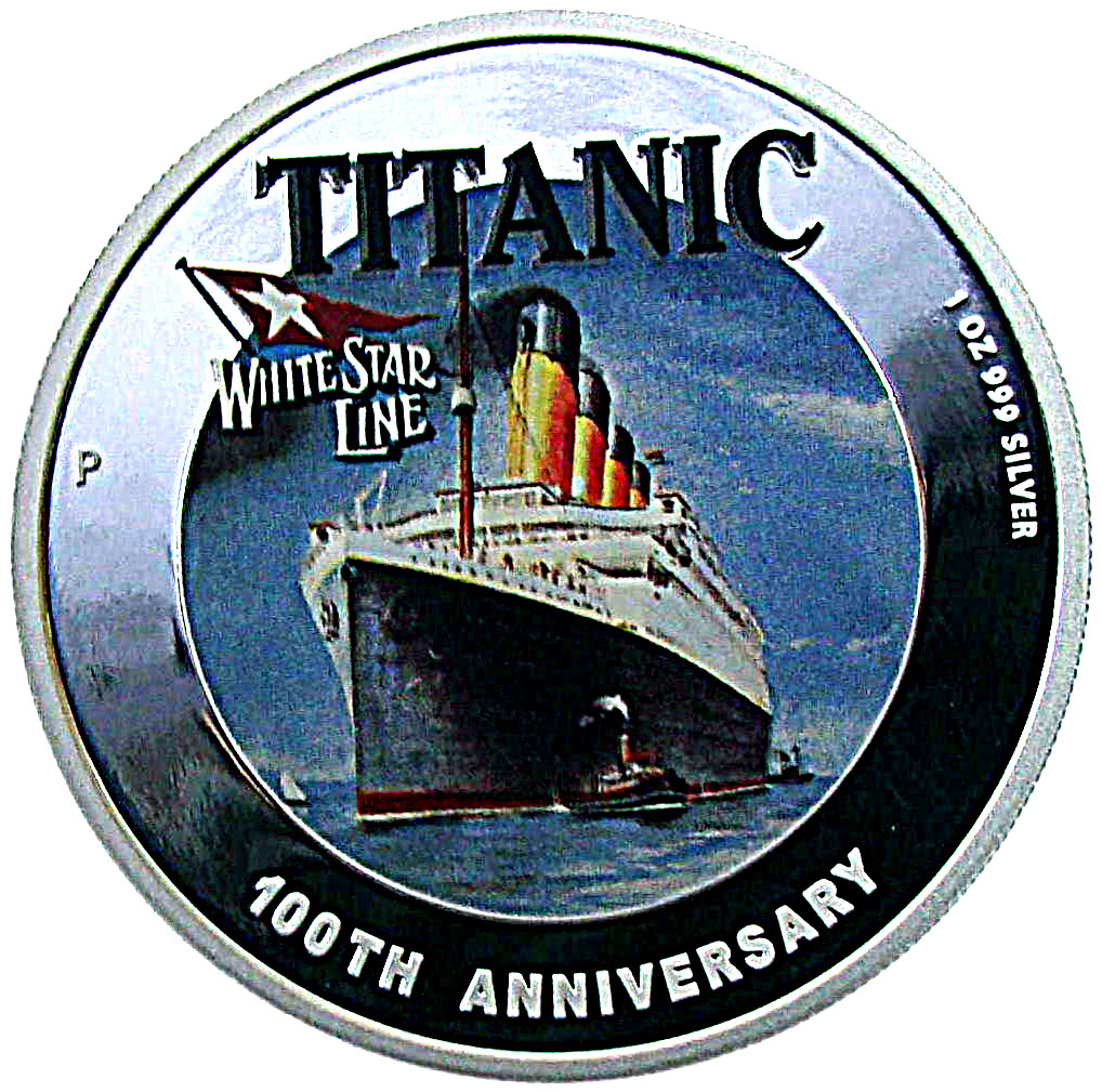 Tuvalu 2012 $1 100th Anniversary Titanic White Star Line 1 Oz Silver Proof Coin