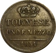 1½ Tornese - Ferdinando II – reverse