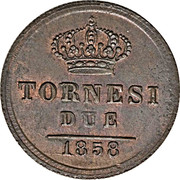 2 Tornesi - Ferdinando II – reverse