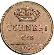3 Tornesi - Ferdinando II – reverse