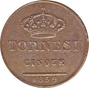 5 Tornesi - Ferdinando II – reverse