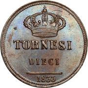10 Tornesi - Ferdinando II (1st portrait) – reverse