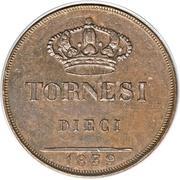 10 Tornesi - Ferdinando II (2nd portrait) – reverse