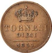 10 Tornesi - Ferdinando II (3rd portrait) – reverse