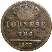 1 Tornese - Francesco I – reverse