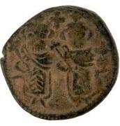 Follis / Fals - two standing figures type (Arab-Byzantine) – obverse