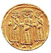 Solidus / Dinar - Abd al-Malik - three standing figures type (Arab-Byzantine) – obverse