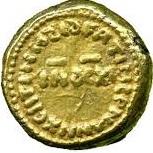 Solidus / Dinar - al-Walid I b. 'Abd al-Malik - al-Andalus - Transitional coinage (Spain & North Africa - Arab-Byzantine) – reverse