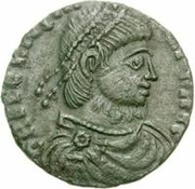 Bronze Æ - In the name of Julian II, 361-363 (Two stars above bull; shaved bust) -  obverse