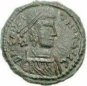 Bronze Æ - In the name of Constantius II, 337-361 (Horseman facing up; soldier above horse) -  obverse