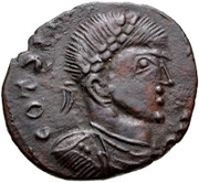 Bronze Æ - In the name of Constantine I, 306-337 (Bust facing right; filled podium) – obverse
