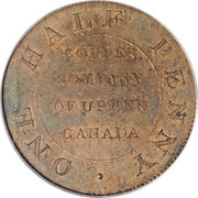 ½ Penny (Post Colonial Issue - Copper Company of Upper Canada) – reverse