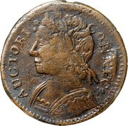 """Connecticut Copper """"Mailed Bust Facing Left over 1877 or 1887"""" – obverse"""